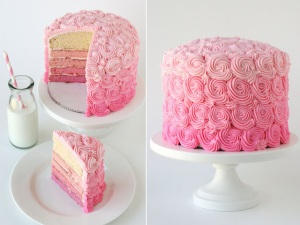 Indianapolis wedding planner Pink Ombre cake inside and out
